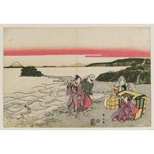菊川英山: Travellers at Enoshima - ボストン美術館