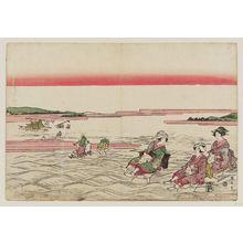 菊川英山: Crossing the Ôi River - ボストン美術館