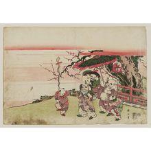 菊川英山: Fukurokuju, Daikoku, and Hotei Parading with Chinese Children - ボストン美術館