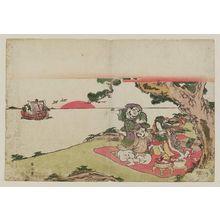 菊川英山: Benten, Daikoku, and Ebisu at a Picnic as the Treasure Boat Arrives - ボストン美術館