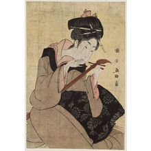 Utagawa Kunimasa: Woman Changing String of a Samisen - Museum of Fine Arts
