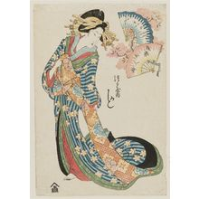 Kikugawa Eizan: Kashiku of the Tsuruya, from the series Array of Beauties of the Pleasure Quarters (Seirô bijin soroe) - Museum of Fine Arts