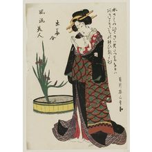 菊川英山: from the series Fashionable Beauties Matched with Flower Arrangements (Fûryû bijin hana awase) - ボストン美術館