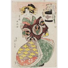Kikugawa Eizan: Hanamurasaki of the Tamaya, from the series Five Women of the Pleasure Quarters (Seirô Gonin onna) - Museum of Fine Arts