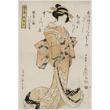 Kikugawa Eizan: Courtesan of the Itsu?ya in Mikuni, Echizen Province, from the series Comparisons of Representative Customs (Tatoegusa fûzoku awase) - Museum of Fine Arts