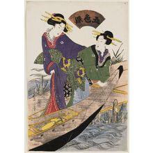 Kikugawa Eizan: Women Boarding a Boat, from the series Five Colors of Dye (Goshiki-zome) - Museum of Fine Arts