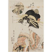 Kikugawa Eizan: Cherry Blossoms in the Yoshiwara: The Style of a Courtesan (Yoshiwara hana, oiran fû), from the series Fashionable Snow, Moon, and Flowers (Fûryû setsugekka) - Museum of Fine Arts