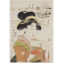 菊川英山: Moon at Takanawa: The Style of a Geisha (Takanawa tsuki, geisha fû), from the series Fashionable Snow, Moon, and Flowers (Fûryû setsugekka) - ボストン美術館