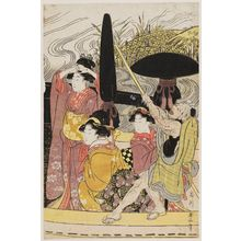 Kikugawa Eizan: A Procession of Beauties Crossing a River by Ferryboat - Museum of Fine Arts