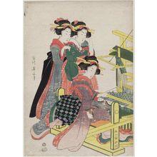 菊川英山: Two Girls Watching a Third Girl Weaving at a Loom - ボストン美術館