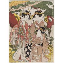 Kikugawa Eizan: Women on a Falconry Excursion - Museum of Fine Arts