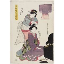 Kikugawa Eizan: Dyed Fabric from the Hoteiya Store (Hoteiya-zome), from the series Purple-dyed Patterns of Edo Products (Tôto shiire murasaki moyô) - Museum of Fine Arts