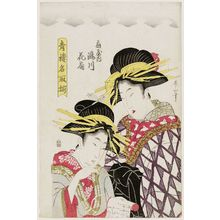 菊川英山: Takigawa and Hanaôgi of the Ôgiya, Seirô natori -zoroe - ボストン美術館