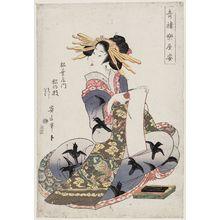 菊川英山: Matsunoe of the Matsubaya, kamuro Matsushi and Iroha, from the series Behind the Scenes in the Pleasure Quarters (Seirô gakuya sugata) - ボストン美術館