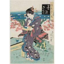 菊川英山: Kurozome sakura, from the series Tôsei bijin no hana - ボストン美術館