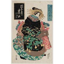 渓斉英泉: Toyoyama of the Okamotoya, kamuro Yamaji and Nishiki, from the series Shin Yoshiwara zensei Shichikenjin - ボストン美術館
