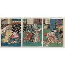 Utagawa Kunisada: Actors Azuma Ichinojô I as Sugibae, Onoe Kikujirô II as Fuji no Kata (R); Bandô Hikosaburô IV as Higashiyama Yoshimasa kô, Bandô Tamasaburô II(?) as Koshimoto Tamanae (C); Iwai Kumesaburô III as Jirô Kanja, Morita Kanya XI as Saga no Kôshitsu (L) - Museum of Fine Arts