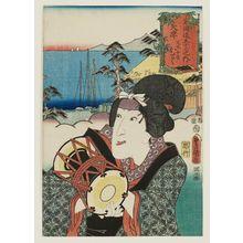 Utagawa Kunisada: Ôtsu: (Actor Iwai Kumesaburô III as) Matabei's Wife Otoku (Matabei nyôbô Otoku), from the series Fifty-three Stations of the Tôkaidô Road (Tôkaidô gojûsan tsugi no uchi) - Museum of Fine Arts