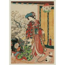 Utagawa Kunisada: Cherry Blossoms at Genji's Rokujô Mansion (Genjin Rokujô no hana) - Museum of Fine Arts