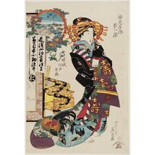 Keisai Eisen: Ôji Gongen: Hanamurasaki of the Ebiya, from the series Courtesans for Compass Points in Edo (Keisei Edo hôkaku) - Museum of Fine Arts