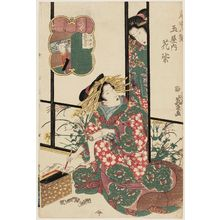 Keisai Eisen: Hanamurasaki of the Tamaya, from the series Eight Views of the Pleasure Quarters (Kuruwa hakkei) - Museum of Fine Arts
