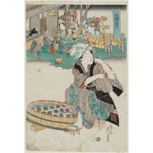 渓斉英泉: Shirasuka, from an untitled series of the Fifty-three Stations of the Tôkaidô Road - ボストン美術館