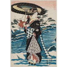渓斉英泉: Beauty in Snow with Umbrella - ボストン美術館