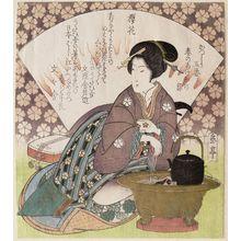 屋島岳亭: Cherry Blossom (Sakurabana), from the series A Set of Five Designs for the Katsushika Group: Textiles Dyed the Colors of Spring Dawn (Katsushika goban haru no akebono-zome) - ボストン美術館