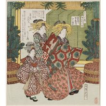 屋島岳亭: Hitofude of the Tamaya on her Way to the First Writing of the New Year (Kakizome no Tamaya Hitofude), No. 5 from the series Views of Naka-no-chô for the Hisakataya Club (Hisakataya Nakanochô no go) - ボストン美術館