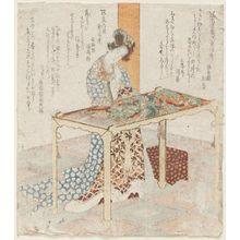 屋島岳亭: Chinese Woman Embroidering - ボストン美術館