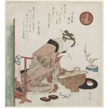 柳々居辰斎: Woman with Brush, from the series The Three Monkeys (Sanen) - ボストン美術館