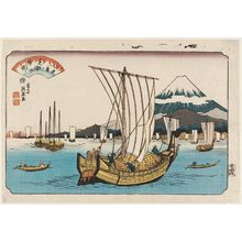 渓斉英泉: Returning Sails at Shiba Bay (Shibaura no kihan), from the series Eight Views of Edo (Edo hakkei) - ボストン美術館