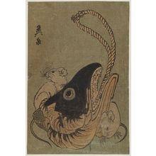 渓斉英泉: Rats and Dried Fishhead - ボストン美術館