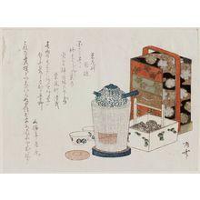柳々居辰斎: Tea pot, lacquer chest, and charcoal box - ボストン美術館