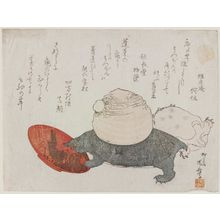 Ryuryukyo Shinsai: Two Turtles, One with a Yam (yama imo) on its Back, Stepping on a Sake Cup - Museum of Fine Arts