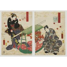 Utagawa Kunisada: Ch. 24, Kochô, from the series Lingering Sentiments of a Late Collection of Genji (Genji goshû yojô) [pun on The Fifty-four Chapters of the Tale of Genji (Genji gojûyojô)] - Museum of Fine Arts