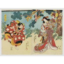 Utagawa Kunisada: Actors Ichikawa Danjûrô VIII as Yamauba (R) and Ichikawa Kodanji IV as Kaidômaru (L) - Museum of Fine Arts
