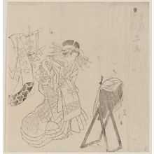 Totoya Hokkei: Courtesan with Mirror - Museum of Fine Arts