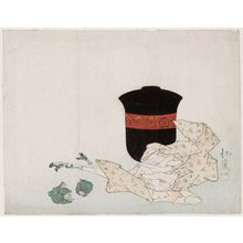 Totoya Hokkei: Surimono. Covered lacquer jar for serving soup, fresh ginger root, two small green vegetables, fish (white bait) lying on fold of paper. - Museum of Fine Arts