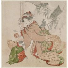 Teisai Hokuba: Woman bouncing a ball before a boy - Museum of Fine Arts