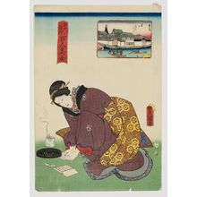 Utagawa Kunisada: Yoroi Ferry (Yoroi no watashi), from the series One Hundred Beautiful Women at Famous Places in Edo (Edo meisho hyakunin bijo) - Museum of Fine Arts