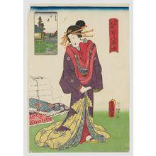 歌川国貞: Senzoku, from the series One Hundred Beautiful Women at Famous Places in Edo (Edo meisho hyakunin bijo) - ボストン美術館