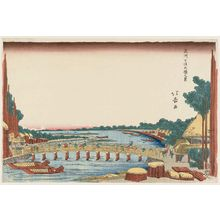 昇亭北壽: View of the Great Bridge at Senju in Musashi Province (Bushû Senju Ôhashi no kei) - ボストン美術館