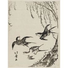 Shotei Hokuju: Swallows Flying Past Willow Tree - Museum of Fine Arts