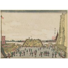 Shotei Hokuju: Perspective Picture of Ryôgoku Bridge (Ryôgoku-bashi uki-e) - Museum of Fine Arts