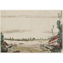 昇亭北壽: View of Ushijima across the Asakusa River from the Mouth of the San'ya Moat (Asakusagawa San'ya-bori iriguchi mukai Ushijima no kei), from the series The Eastern Capital (Tôto) - ボストン美術館