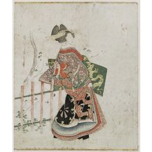 Harukawa Goshichi: A Courtesan Standing in Front of a Fence and Tree - ボストン美術館