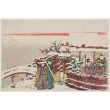 葛飾北斎: Two women visiting others at a pavilion in snow. - ボストン美術館