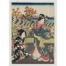 歌川国貞: The Ninth Month (Kikuzuki), from the series Annual Events for Young Murasaki (Wakamurasaki nenjû gyôji no uchi) - ボストン美術館