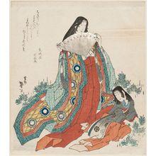 Katsushika Taito II: Court Lady and Attendant Gathering Pine Shoots - ボストン美術館